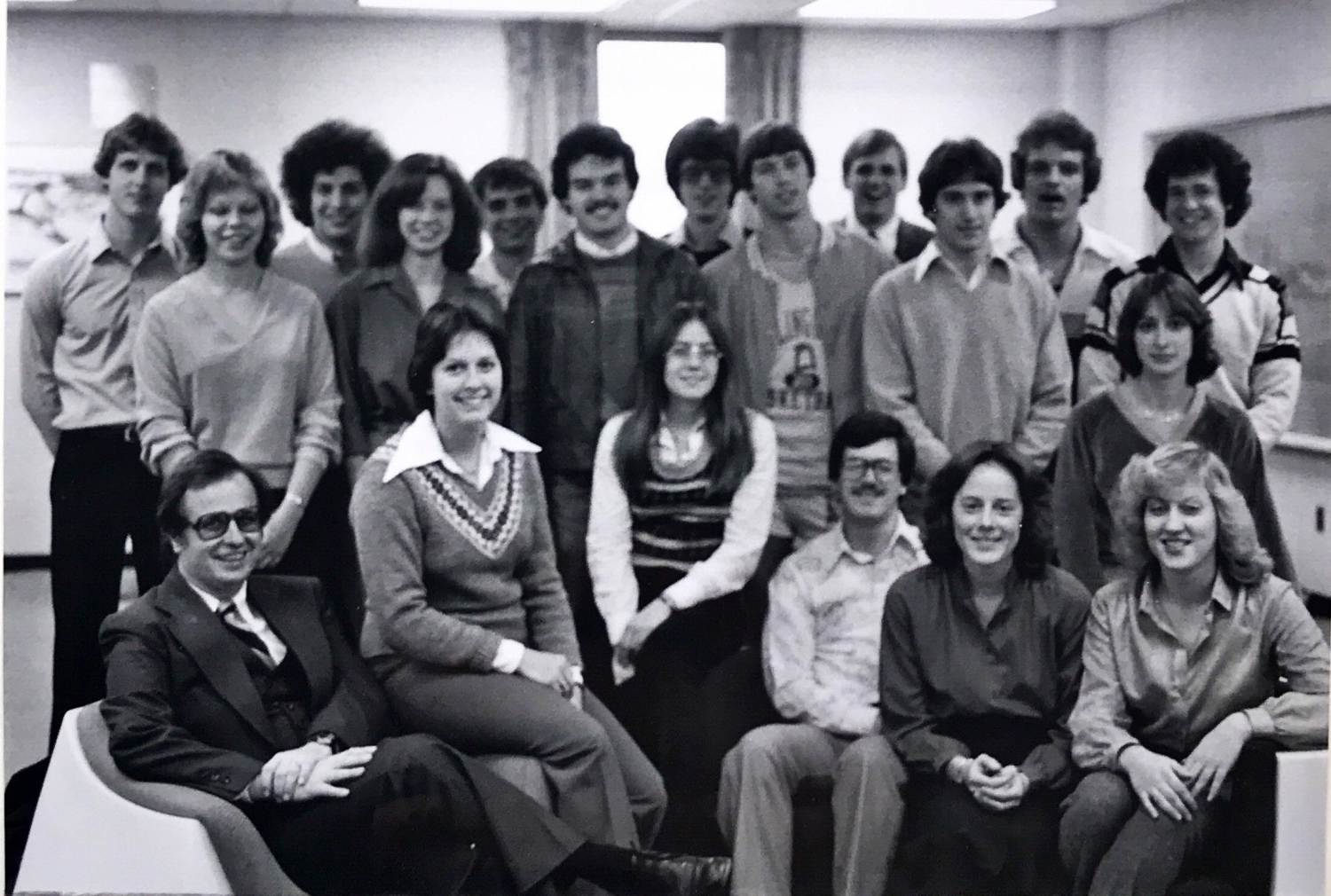 Members of the 1980 Alpha Upsilon chapter with their advisor, Park Leathers